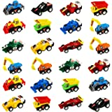 jerryvon Car Toy Mini Pull-BackVehicles for Egg Fillers Race Car Set with Dumps Trucks Diggers Bullozers Karting Construction Car Birthday Decorations Party Favors for Kid 3 Year Old, 24PCS