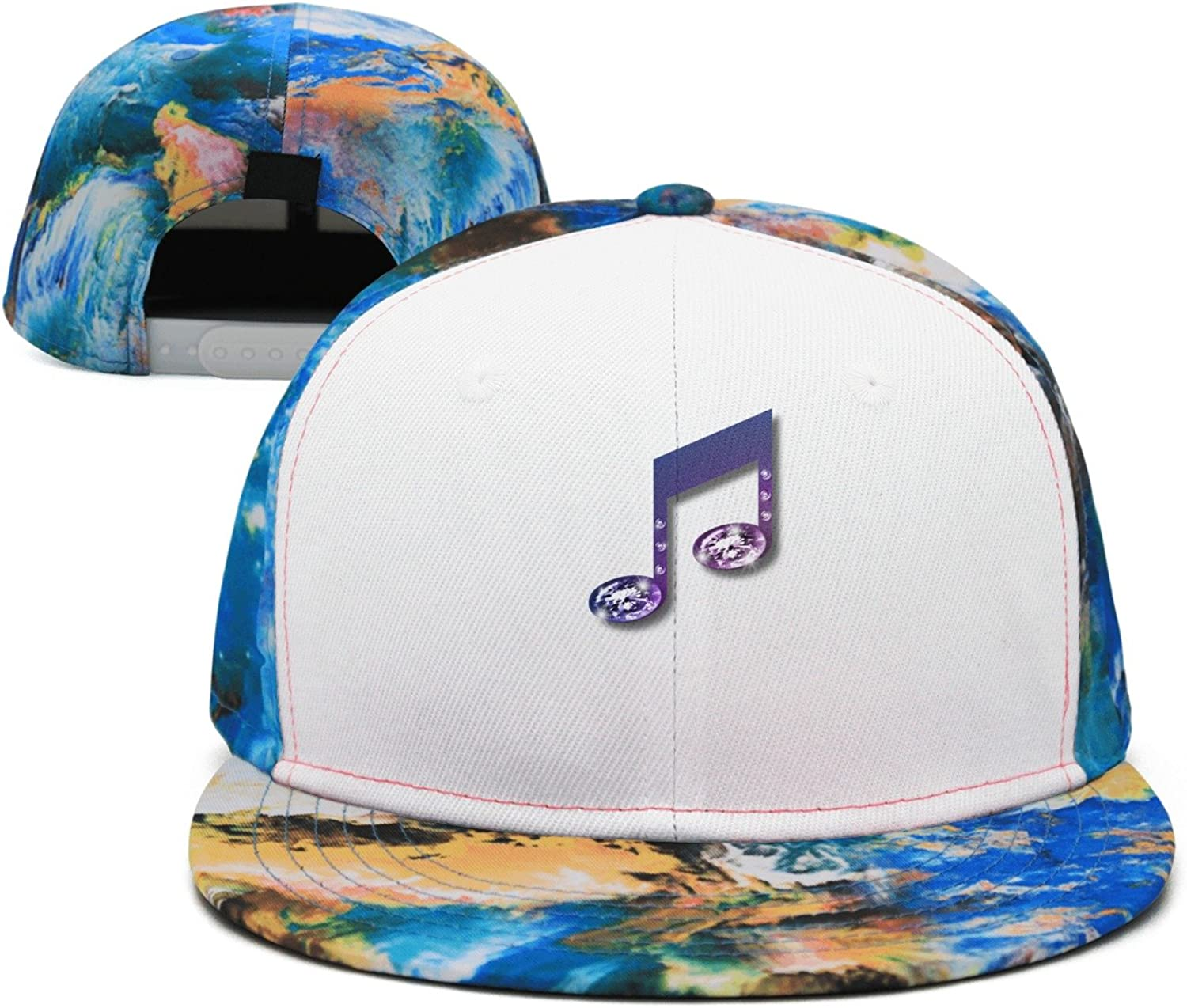 SJSNBZ Purple Musical Notes Printing Unisex Adult Mens Colorful Baseball Caps