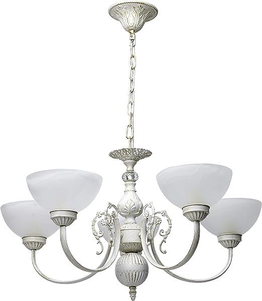 MW-Light 318013905 Suspension Lustre à 5 Branches Design Classique en Métal  Blanc Ivoire Doré Globes en Verre Blanc Mat pour Salon Salle à Manger ...
