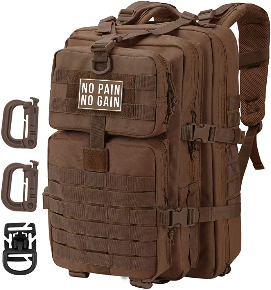 Hannibal Tactical 36L MOLLE Assault Pack, Tactical Backpack Military Army Camping Rucksack, 3-Day Pack