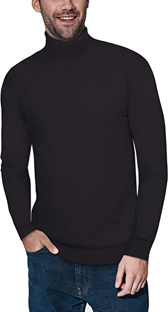 SELX Men Turtleneck Long Sleeve Pullover Slim Fit Cable Knit Sweater