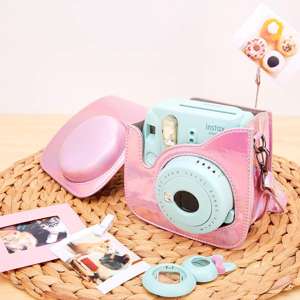 Funda para c/ámara para Fujifilm Instax Mini 8 Mini 9 Mini 8 Flamingo Pink A c/ámara instant/ánea Annle Funda Protectora de Cuero de la PU con Correa extra/íble