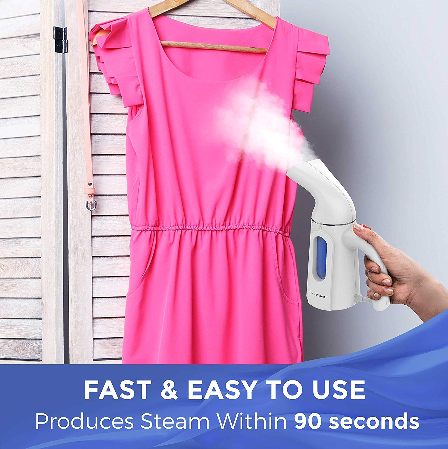 PurSteam Travel Steamer for Clothes. Highest Quality, Fastest Heating InfaTherm Technology , 8-in-1, Wrinkle Remover- Clean- Sterilize-Refresh- Treat-, Auto Off by PurSteam World's Best Steamers (Image #4)
