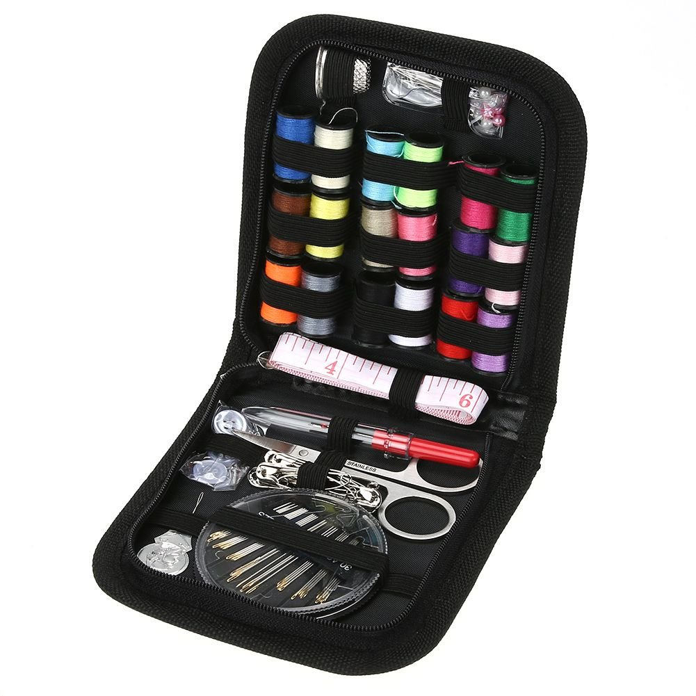 SODIAL 70PCS/Set Multifunction Sewing Box Sewing Thread Stitches Needles Tools Kit Cloth Buttons Craft Scissor Travel Sewing Case Kit