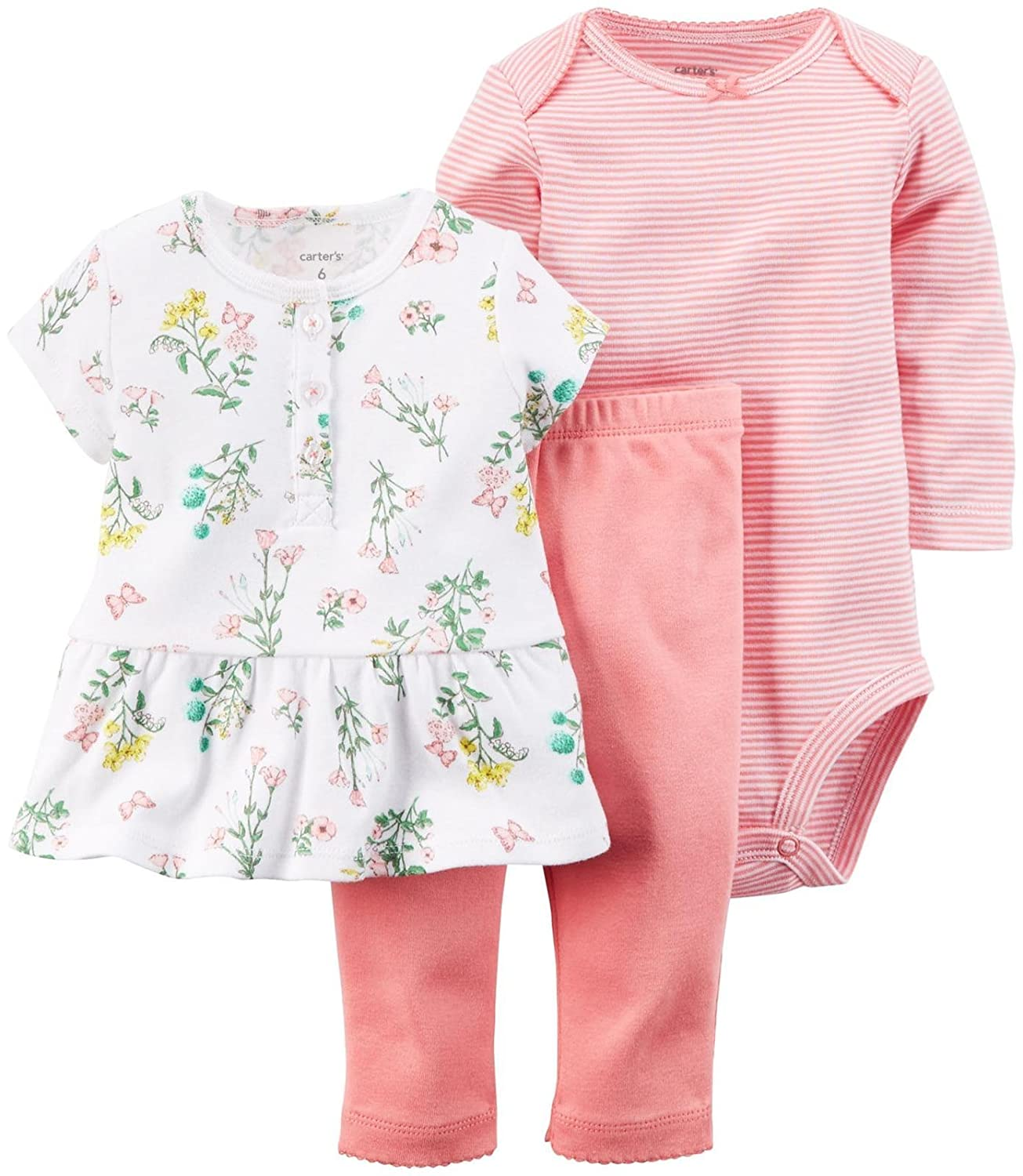 71e154566 Carter\'s 3 Piece Floral Set (Baby) - Pink Carter\'s is the leading brand  of children\'s clothing, gifts and accessories in America, selling more  than 10 ...