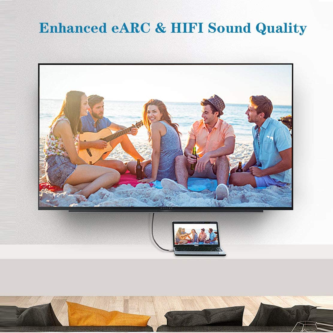 New 8K HDMI Cable with Braided Cord 6.6ft HDMI 2.1 Cable Ultra High Speed HD 48Gbps Cable 8K(7680x4320)@60Hz, 4K@120Hz Compatible with Samsung QLED TV, Roku Netflix PS4, Sony LG etc