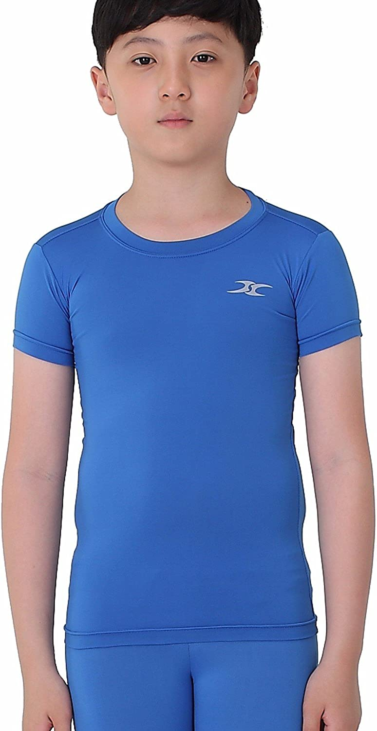 Kids Compression Shirt Underwear Boys Youth Under Base Layer Short Sleeve Top SK: Clothing
