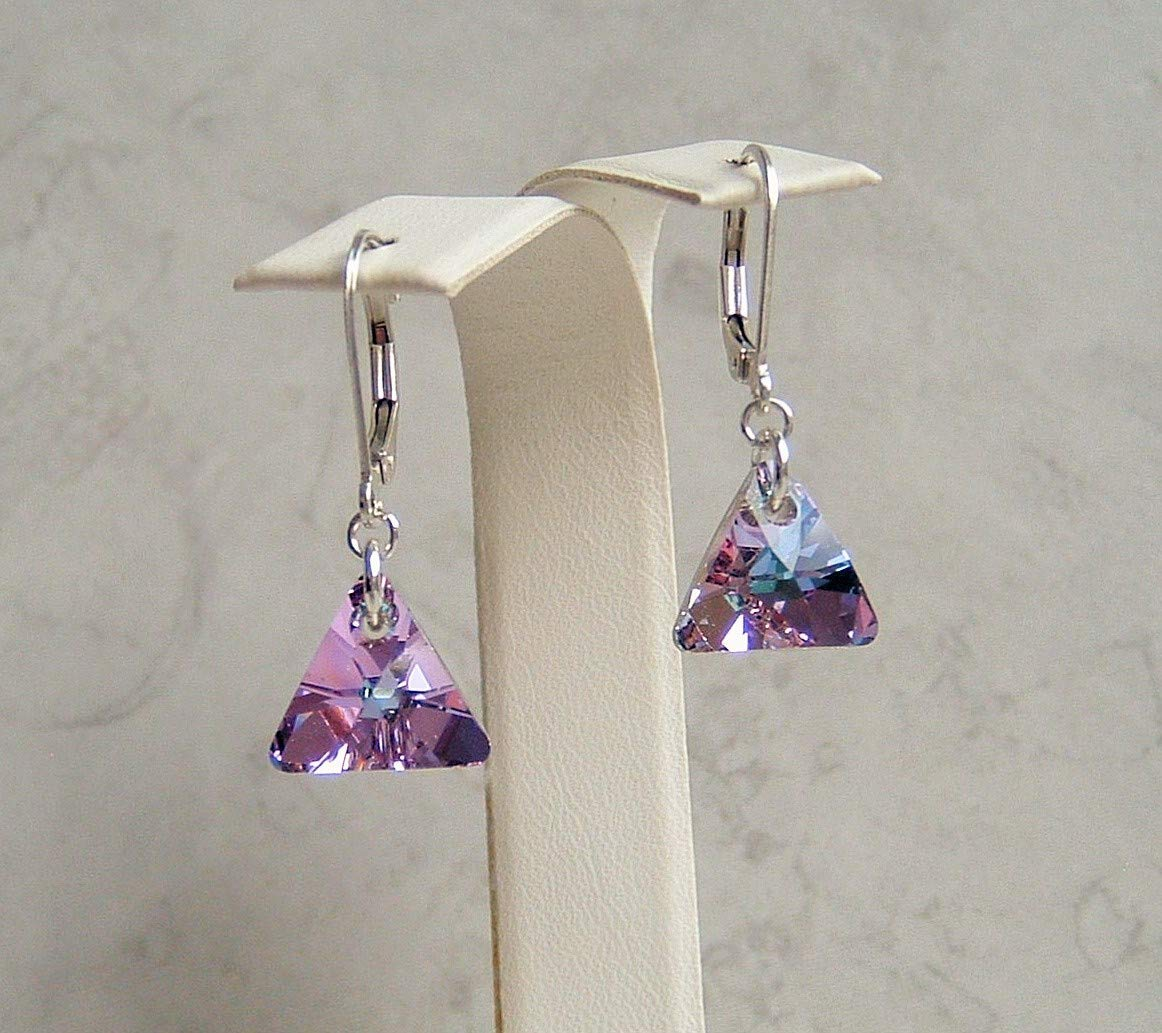 Light Vitrail Multi Purple Blue Triangle Crystal Sterling Silver Leverback Earrings Gift Idea