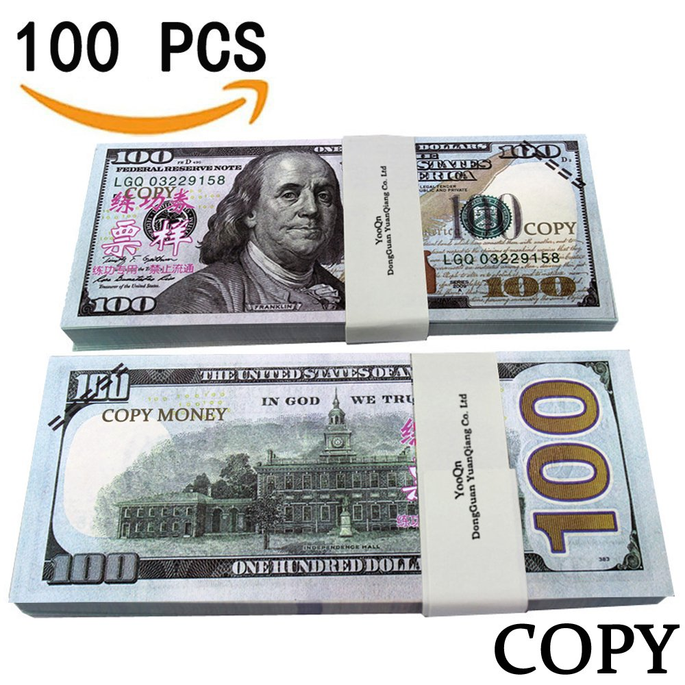 photograph about Play Dollar Bills Printable named XDOWMO Prop Revenue Perform Monetary $10,000 Complete Print Contemporary Income Reproduction of $100 Greenback Payments Stack