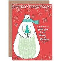 Card Christmas Fiance Cool Love Polar Bear Snow RED