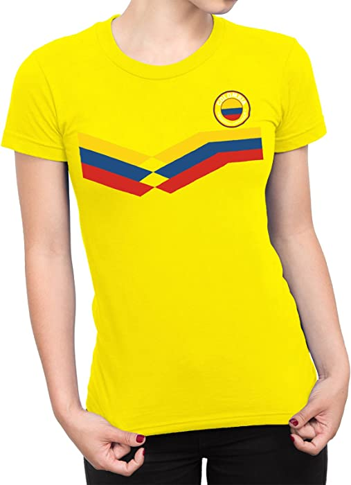 a6406886090 Colombia Ladies T-Shirt World Cup 2018 Football Retro. Back. Double-tap to  zoom