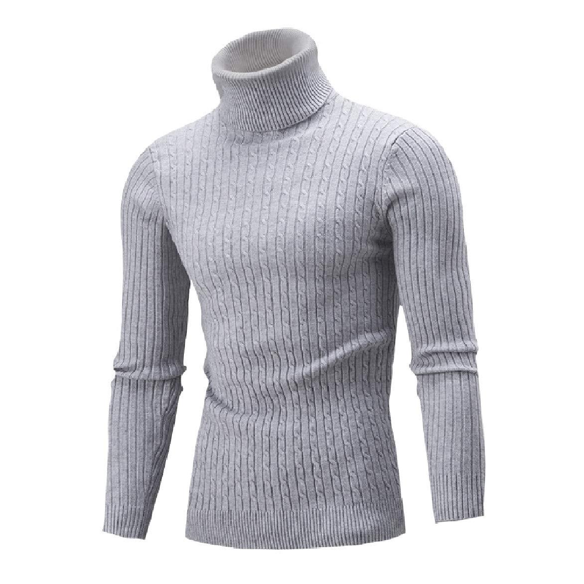Winwinus Mens Slim Mock Neck Knit Long-Sleeve Solid Sweater Pullover