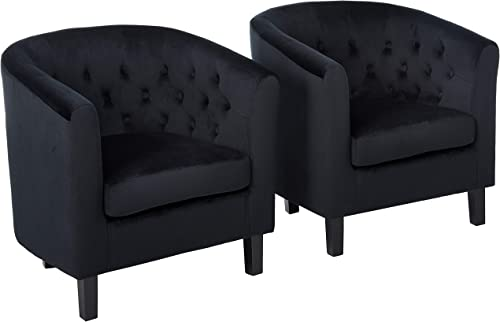 Modway Prospect Tufted Button Performance Velvet Upholstered Accent Lounge Arm Chairs in Black