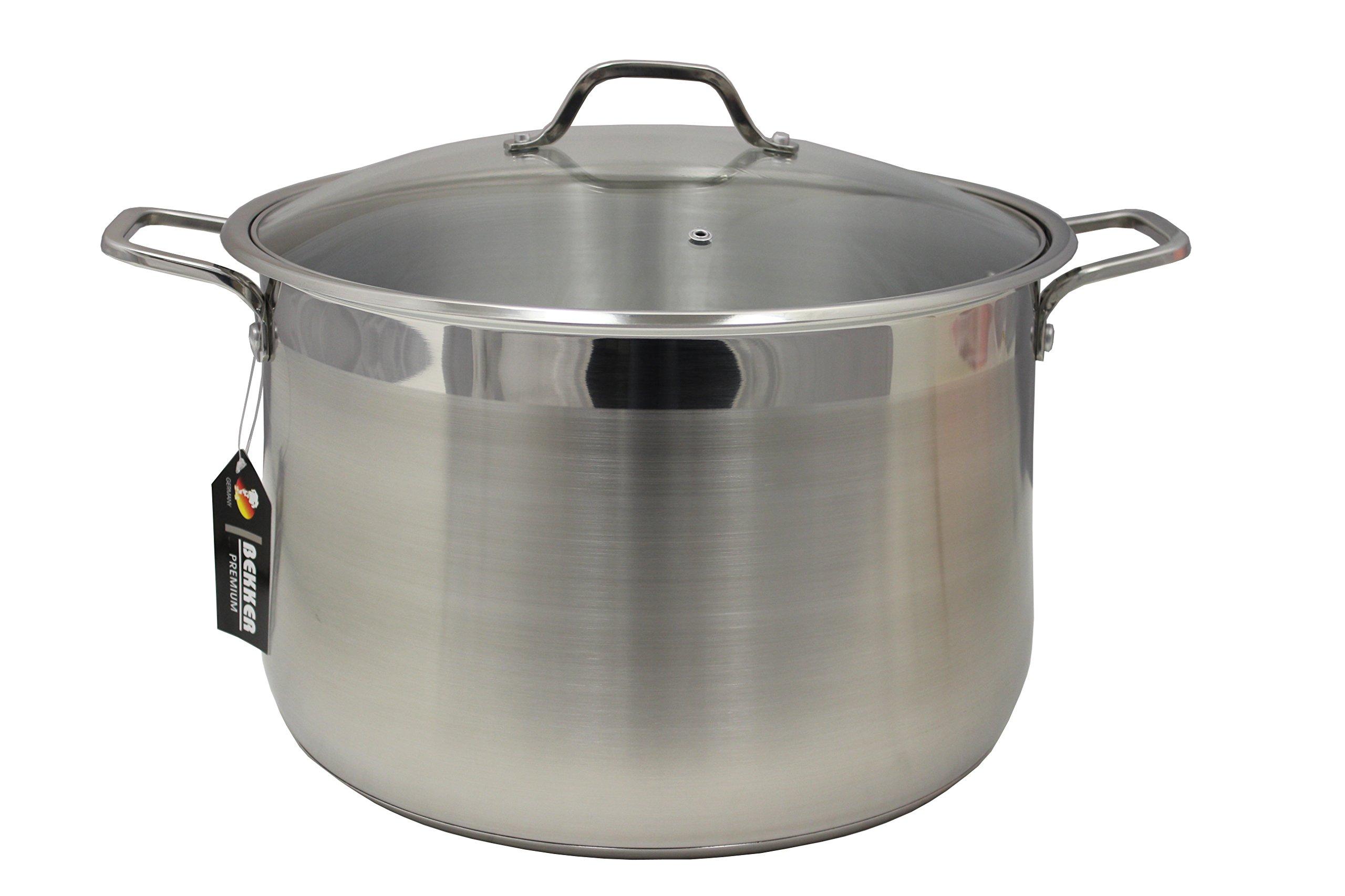 BEKKER Stainless Steel Stock Pot w/ Lid Triply Bottom (21.5 Quart)