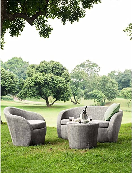 Salon de jardin LOTUS Textilène taupe : 2 places (1 + 1 ...