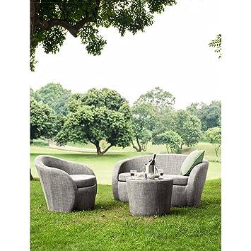 Salon de jardin LOTUS Textilène taupe : 2 places (1 + 1): Amazon.fr ...