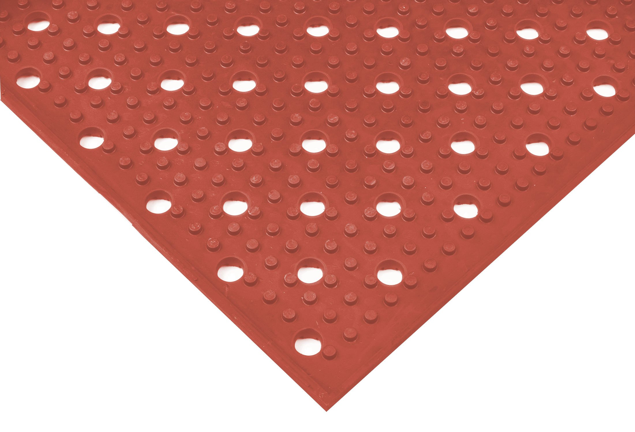 NoTrax T23 Heavy-Duty Rubber Multi-Mat II Safety/Anti-Fatigue Mat, for Wet or Greasy Areas, 3' Width x 8' Length x 3/8'' Thickness, Red by NoTrax Floor Matting (Image #1)