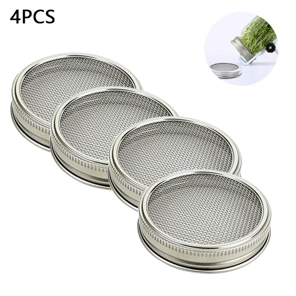 KOBWA Juego de 4 tarros de acero inoxidable con tapa para frasco de malla curvada para jarros de boca ancha o tarros para hacer semillas orgá nicas en casa o cocina