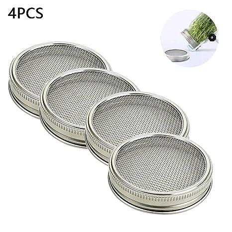 KOBWA Juego de 4 tarros de acero inoxidable con tapa para frasco de malla curvada para jarros de boca ancha o tarros para hacer semillas orgánicas en ...
