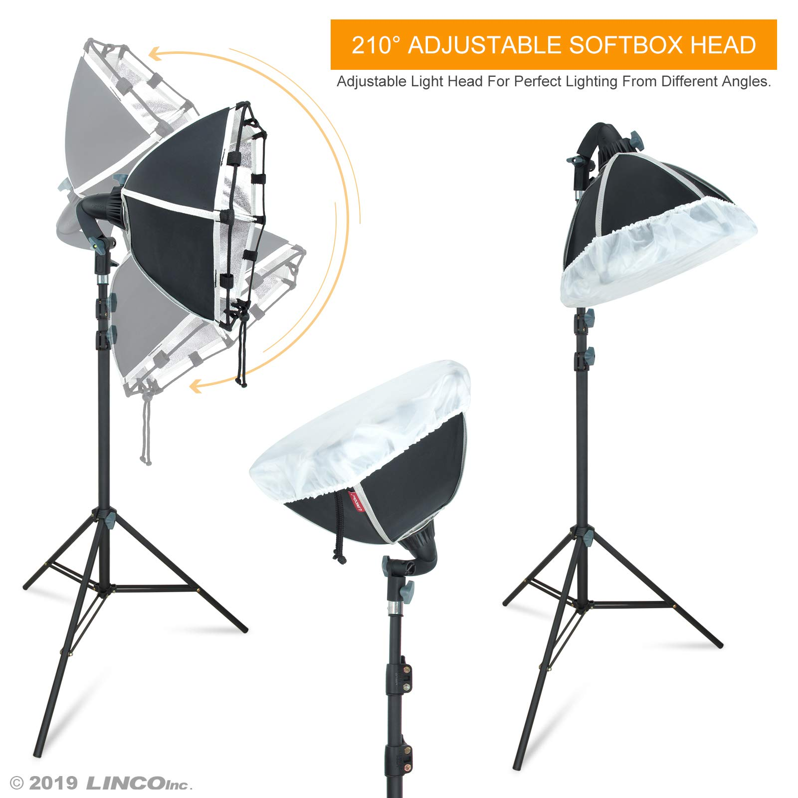 LINCO Lincostore Photography Studio Lighting Kit Arm for Video Continuous Lighting Shadow Boom Box Lights Set Headlight Softbox Setup with Daylight Bulbs 2400 Lumens AM261 by Linco (Image #4)
