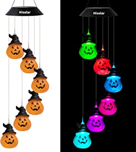 HiSolar Halloween Solar Pumpkin Wind Chimes Color Changing Solar Powered Pumpkin Decor Mobile Light Waterproof LED Wind Chime for Outdoor Halloween Party Christmas Decoration