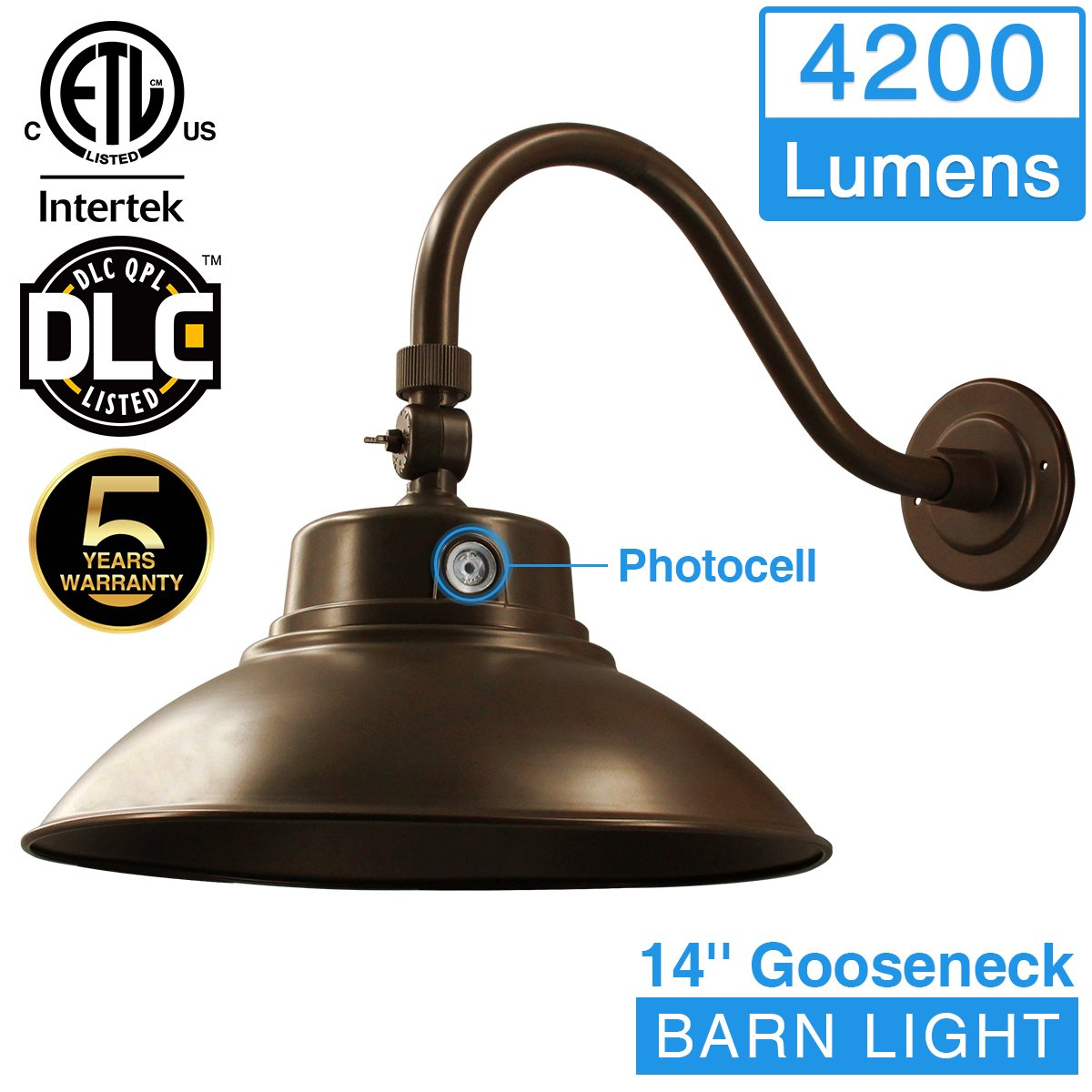 14in. Bronze LED Gooseneck Barn Light 42W 4200lm Daylight LED Fixture for Indoor/Outdoor Use - Photocell Included - Swivel Head,Energy Star Rated - ETL Listed - Sign Lighting - 5000K Daylight 1pk