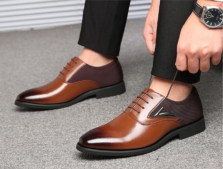Zapatos Oxford Hombre, Cuero Derby Vestir Cordones Calzado Brogue Boda Negocios Moda Negro Marron Rojo 38 48