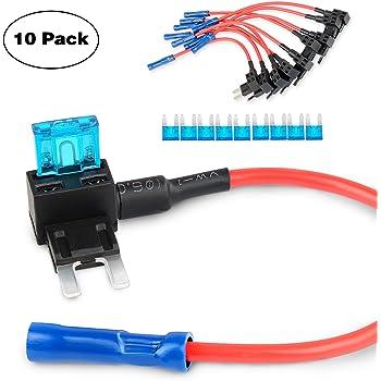 add a circuit fuse tap adapter micro low profile mini aps att nilight ga0005 fuse holder tap adapter mini atm apm blade fuse holder 10 pack