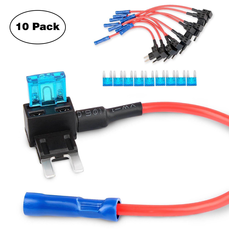 Nilight GA0005 TAP Adapter Mini ATM APM Blade Fuse Holder - 10 Pack
