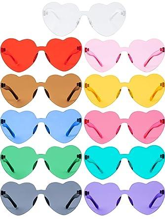 Gafas de Sol sin Montura de Amor en Forma de Corazón Gafas sin Marco de Colores de Dulces Transparentes Gafas Teñidas Rodajas Gruesas