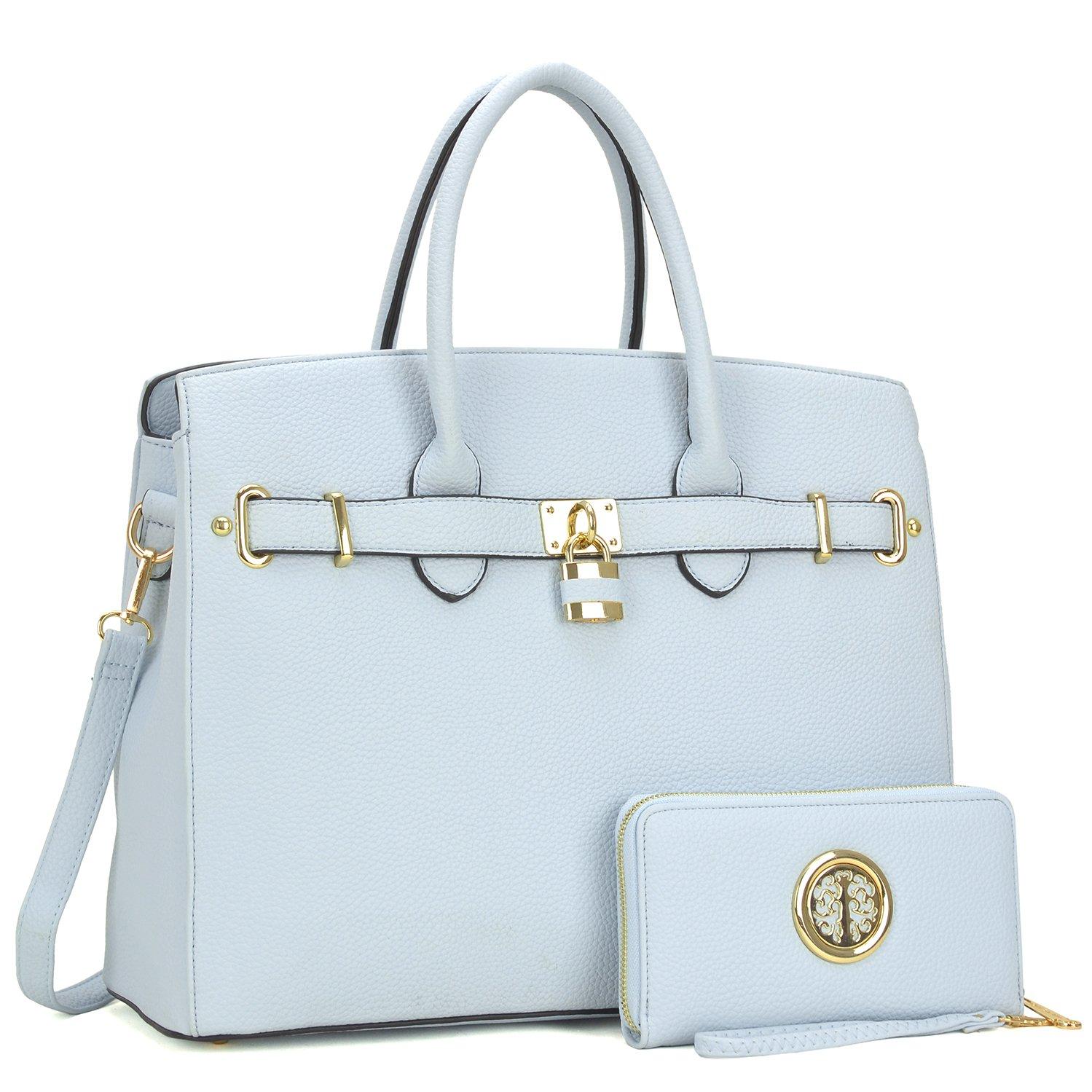 Women Large Handbag Designer Purse 2 Pieces Set Leather Satchel Top Handle Shoulder Bag Light Blue