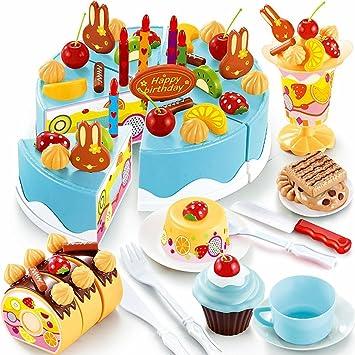 JT-Amigo Juguetes para Niño - 75 Piezas Tarta de Cumpleaños, Azul