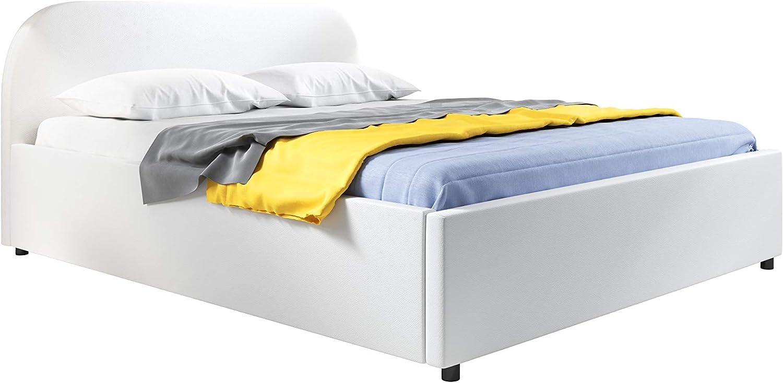 muebles bonitos Cama de Matrimonio con canapé Lexy en Color Blanco (160x200cm)