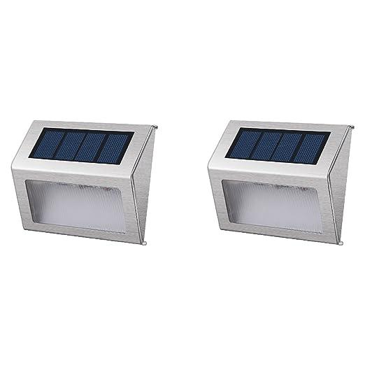 Lumisky Wally W8 Set de 2 Proyector Foco Solar 3 LED exterior hermética, acero cepillado