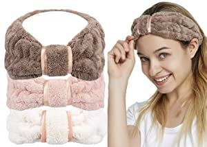 Spa Facial Headband for Washing Face Makeup Terry Cloth Headbands Elastic Head Wrap Great Gift for Women Girls 3-pack