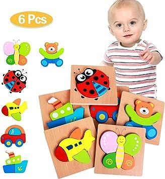 QUCHENG Rompecabezas de Madera para niños de 1 2 3 años, Paquete de 6 Juegos de