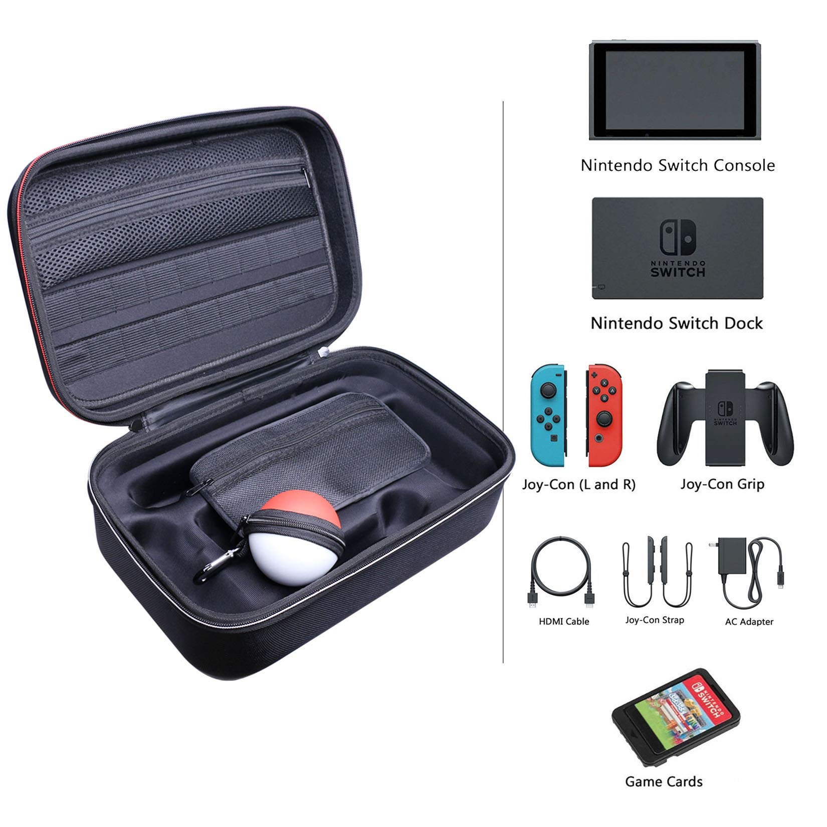 Black NINTENDO SWITCH CASE Carrying Travel Storage Bag Hard Shell Pouch Cover Holds Accessories Pro Controller Charger Joycons AC Adapter SD Card HDMI Cable Charging Dock