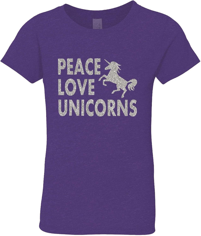3 Pearls Designs Big Girls Purple Silver Glitter Peace Love Unicorns Tee 8-16