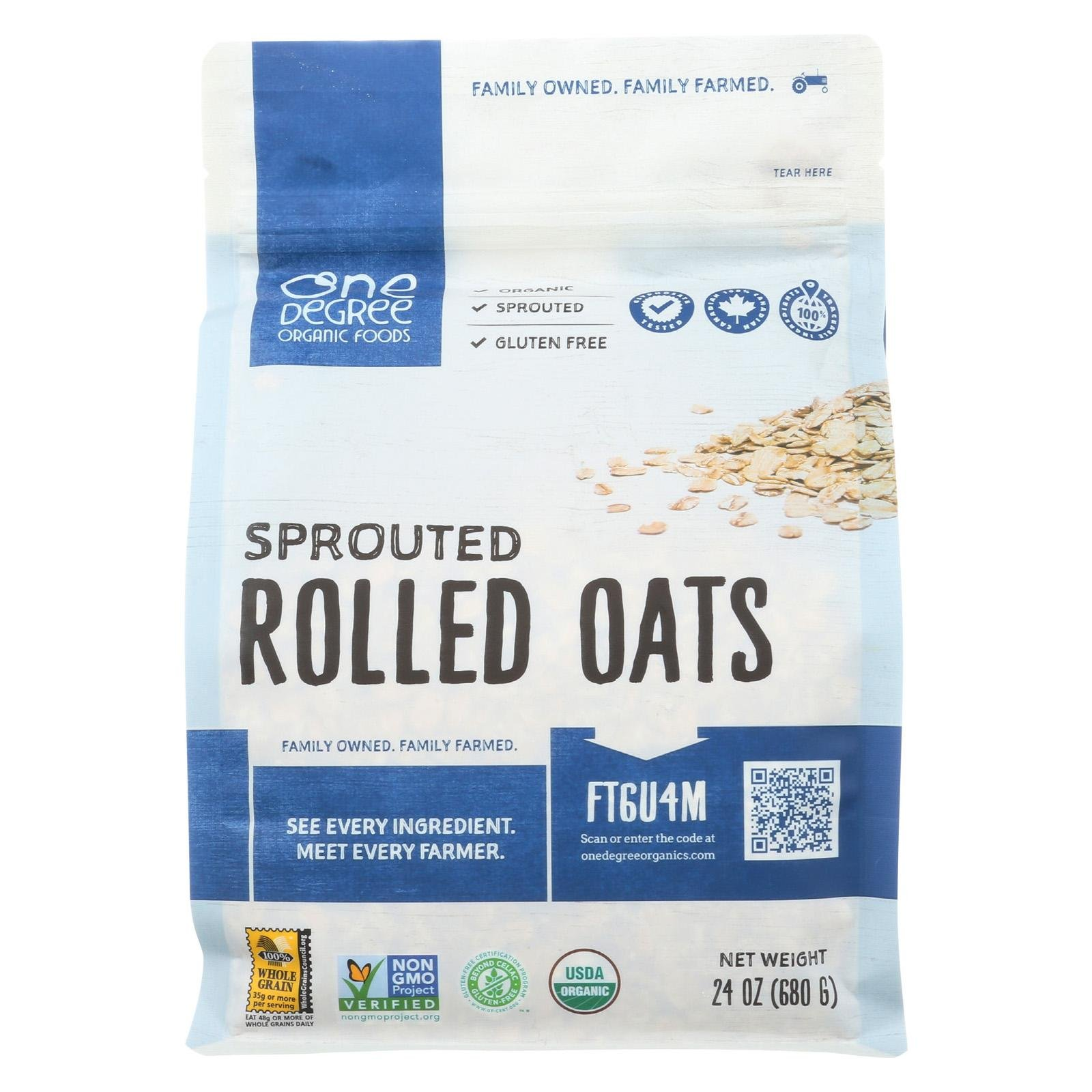 ONE DEGREE ORGANIC FOODS, Sptrd Oats, Og2, Rolled, Pack of 4, Size 24 OZ, (Gluten Free Vegan 95%+ Organic)