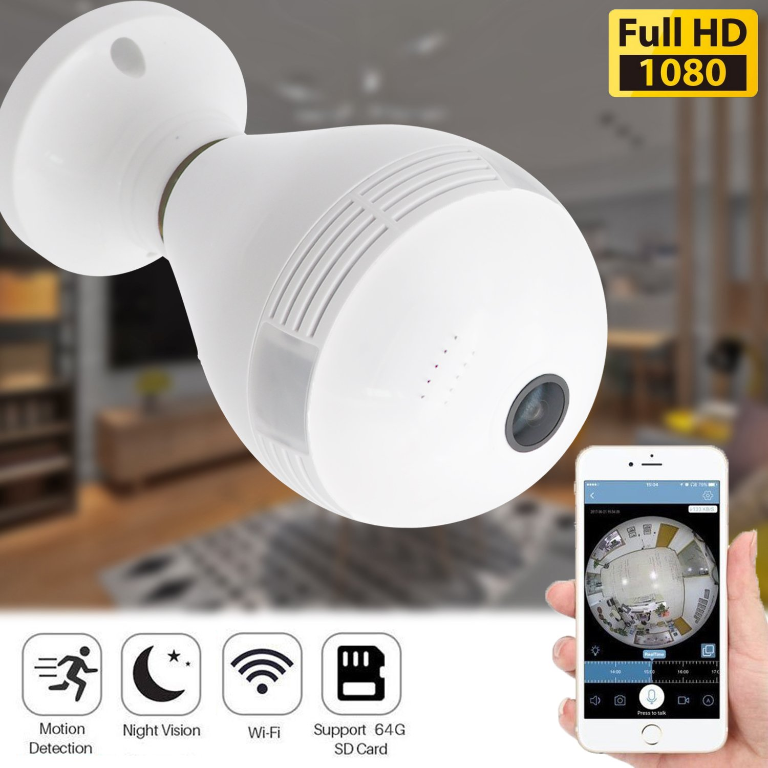 360 Panoramic Bulb Security Camera Wireless 960P IP Camera for Home Baby Pet Monitor Remote Viewing Camera Night Vision Motion Detection WiFi Cam
