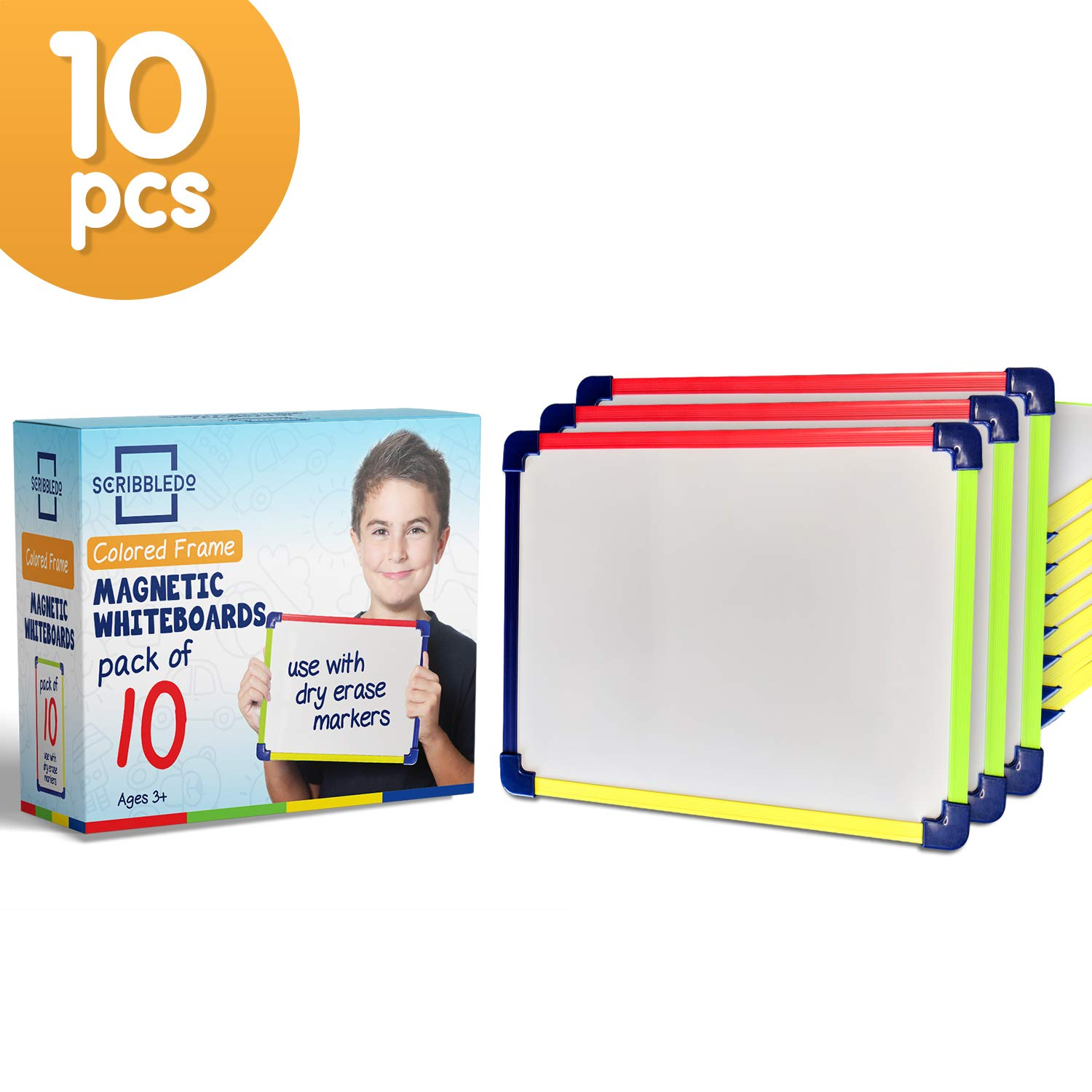 SCRIBBLEDO Colored Frame Magnetic Dry Erase White Boards Pack of 10 l 9'' X 12'' Whiteboard by SCRIBBLEDO