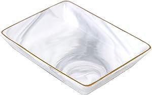 Ceramic Jewelry Dish Tray - Marble Pattern Jewelry Tray, Minimalist Trinket Dish Tray, Ring Holder Dish, Bathroom Jewelry Vanity Tray, Home Decor Wedding Gifts for Women (Small)