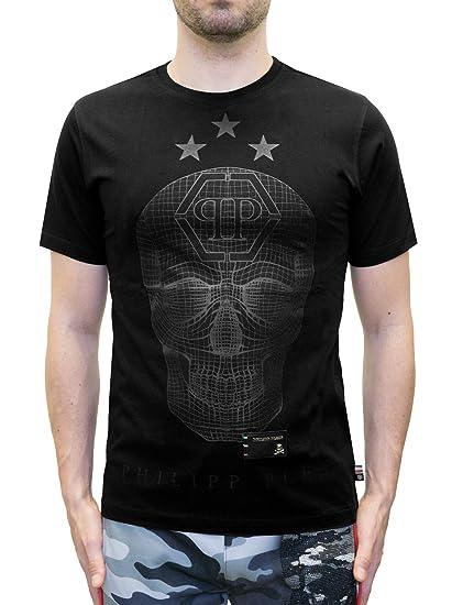 2732586f6c00f1 Philipp Plein - SAY Something - T-Shirt with Graphic Skull Print (S) Black:  Amazon.co.uk: Clothing