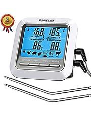 TOPELEK Grillthermometer Fleischthermometer 2 Sonden Haushaltsthermometer Temperatur Voreinstellung, Küchenwecker, Sofortiges Auslesen, Magnetisches Montagedesign für Küche, Grill