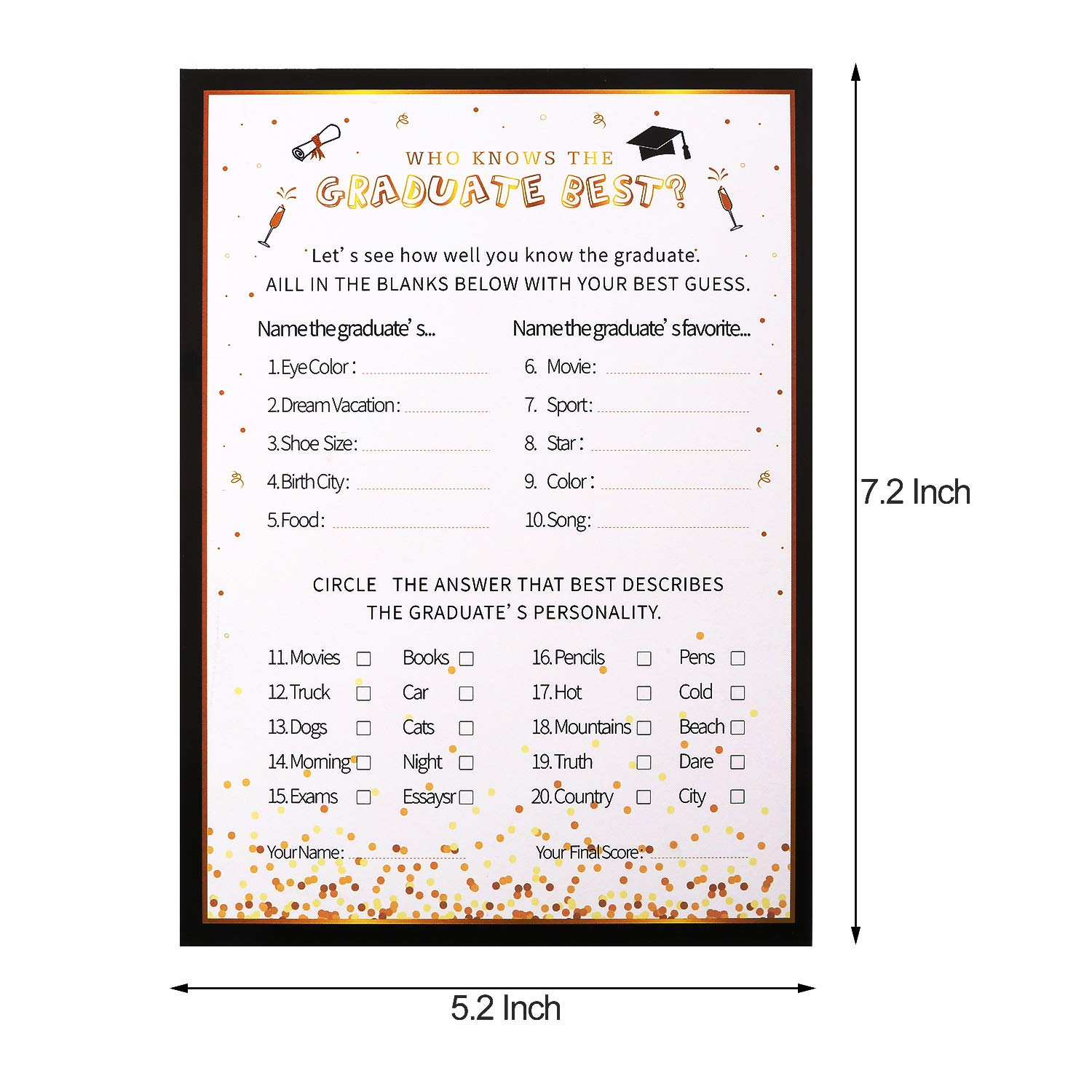 Yaomiao 48 Sheets 2019 Graduation Advice Cards Graduation Invitations Cards Party Games Activities for Graduation Supplies 4 Styles