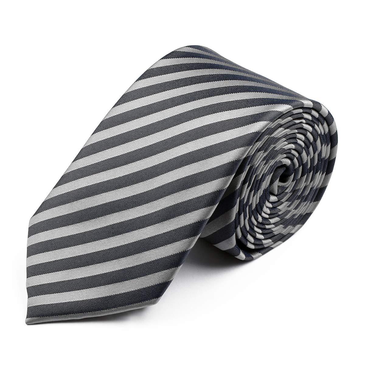 Venti Corbata sobredimensionada con Rayas Plateadas, One Size:One ...