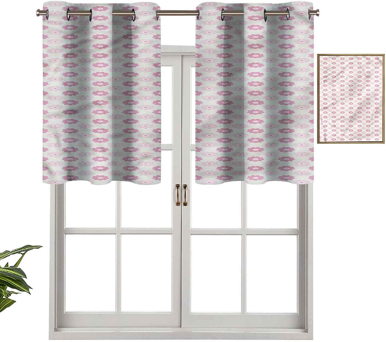 Hiiiman Cortinas con ojales con aislamiento térmico para oscurecimiento de habitación, color pastel, femenino, juego de 2, 106,7 x 60,9 cm para dormitorio, baño y cocina