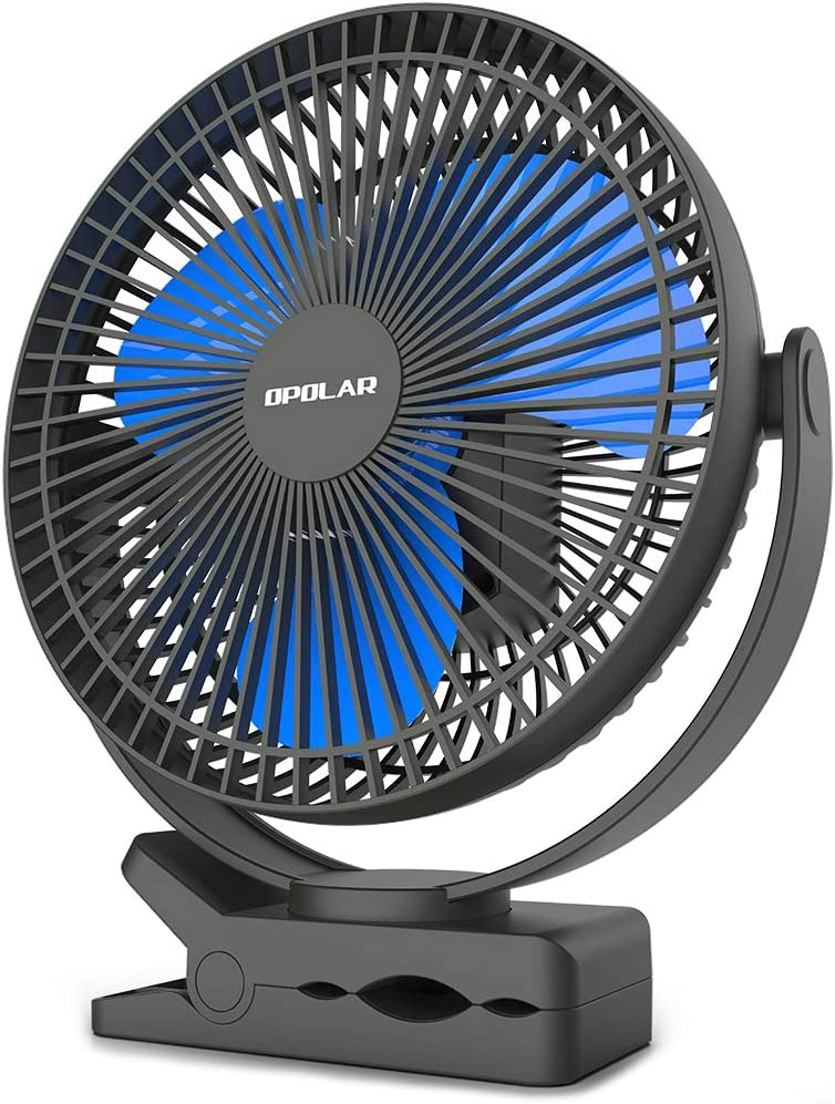 Rechargeable Air Conditioning 2 Motors Ventilador Fan USB Fan Electric Fan with 5 Blades Air Cooling Fan Portable Couples Fan Color : Blue