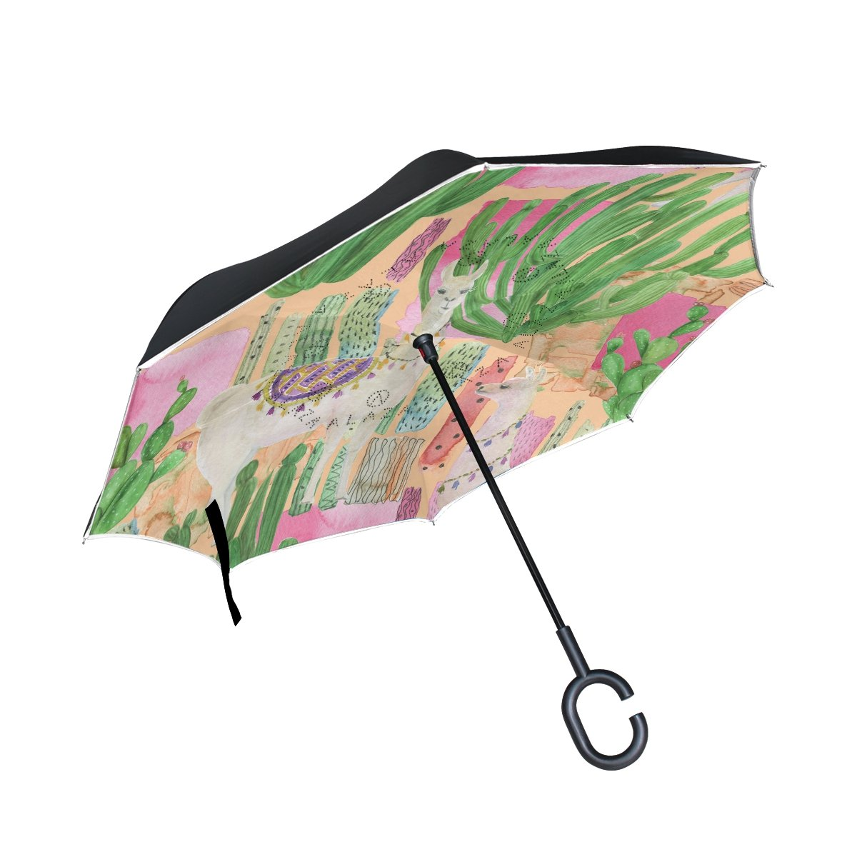 Alaza Inverted傘水彩画Tropical LlamasサボテンUVアンチ防水防風Reverse Folding Umbrellas With c-shapeハンドル車屋外の旅行   B077S2N2HF