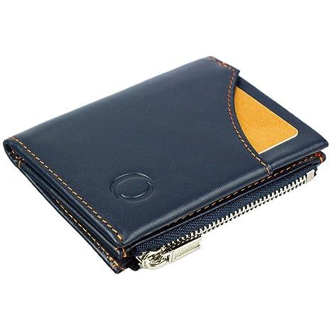 746dd80be8a1af Portafoglio da uomo blu/arancione, portamonete in vera pelle protezione  anti-RFID -